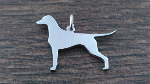 Doberman natural dog Charm silhouette solid sterling silver Handmade in the Uk